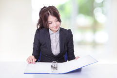 Business woman look documents at office Royalty Free Stock Images