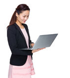 Business woman look at laptop computer Stock Photography
