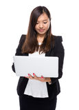 Business woman look at laptop computer Royalty Free Stock Photography