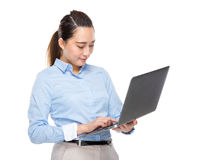Business woman look at laptop computer Royalty Free Stock Photos