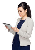 Business woman look at tablet Royalty Free Stock Images