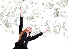Business woman look up under money rain Royalty Free Stock Image