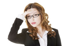 Business woman looking away into the future Royalty Free Stock Photos