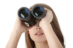 Business woman looking through binocular Royalty Free Stock Images