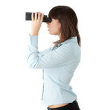 Business woman looking through binocular Stock Photos