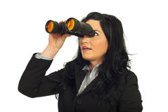 Business woman looking through binocular Royalty Free Stock Image