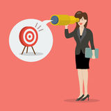 Business woman looking for business target Royalty Free Stock Images