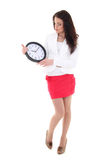Business woman looking at clock Royalty Free Stock Photo