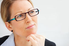 Business woman looking at copyspace Stock Photo