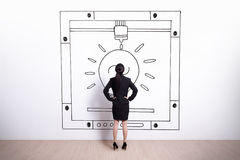 Business woman looking 3D printer Royalty Free Stock Photography