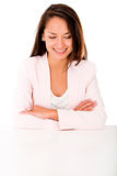 Business woman looking at the desk Stock Photos