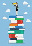 Business woman looking for future on a lot of books Royalty Free Stock Images