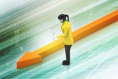 Business woman looking growing arrow Stock Photos