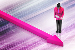 Business woman looking growing arrow Royalty Free Stock Image