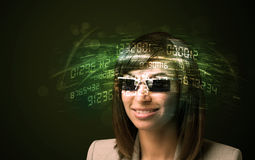Business woman looking at high tech number calculations Stock Photos