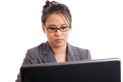 Business woman looking at laptop Royalty Free Stock Photo