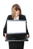 Business woman looking at laptop computer Royalty Free Stock Images