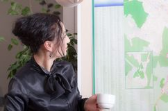 Business woman looking at the map. Stock Photo