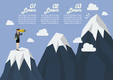 Business woman looking for mountain peak infographic Royalty Free Stock Image