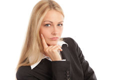 Business woman looking seriously Royalty Free Stock Images