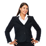 Business woman Looking sideways. Business woman standing in black suit looking to the right. Isolated on white background Stock Photos