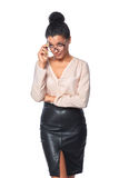 Business woman looking skeptically Royalty Free Stock Photography
