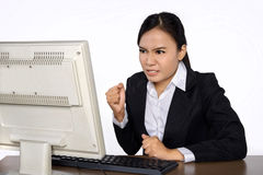 Business woman is looking stressed as she works at her computer royalty free stock photos