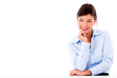Business woman looking on the table Royalty Free Stock Image
