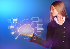 Business woman looking to cloud with icons of the Stock Images