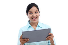 Business woman looking at touch pad PC Stock Photos