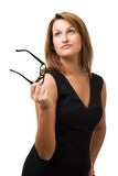 Business woman looking up. With glasses in hand Royalty Free Stock Photo