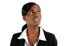 Business woman looking up for vision Stock Photos