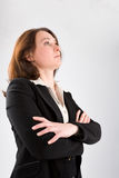 Business woman looking upwards Royalty Free Stock Photo