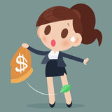 Business woman losing money from a bag Royalty Free Stock Photography