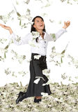 Business woman with lots of money Royalty Free Stock Images