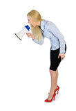 Business woman with loudspeaker Stock Image