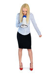 Business woman with loudspeaker Royalty Free Stock Photo