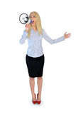 Business woman with loudspeaker Royalty Free Stock Photography