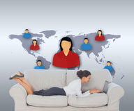 Business woman lying on couch Royalty Free Stock Images