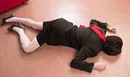 Business Woman Lying On The Floor Stock Photography