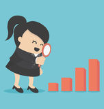 Business woman Magnified Chart. Illustration Cartoons concepts business woman Magnified Chart Stock Photography