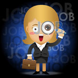 Business woman with magnifying glass searching for job Stock Images