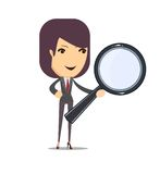 Business woman with a magnifying glass. Business woman on a white background with a magnifier to find, vector illustration Royalty Free Stock Photography