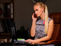 Business woman make career calling  on phone in Royalty Free Stock Photography