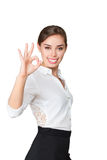 Business woman make OK gesture Stock Photography