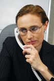 Business woman makes a call. 40 years old business woman makes a call Stock Photo