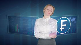 Business woman makes a financial analysis on touch screens. Swiss, Franc, CHF stock footage