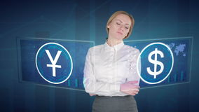 Business woman makes a financial analysis on touch screens. US dollar, Yuan stock video