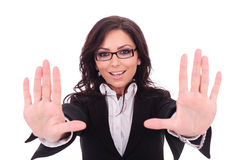 Business woman makes hand frame Stock Images