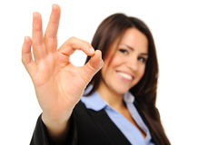 Business woman makes OK sign Stock Photo